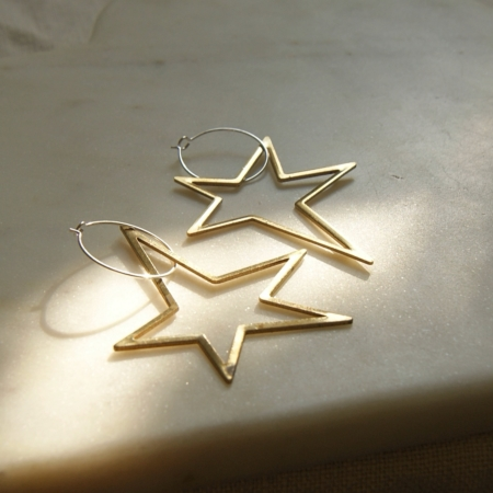 large-brass-star-earrings