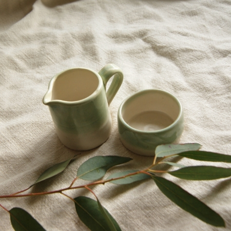 green-ceramic-jug-bowl-set