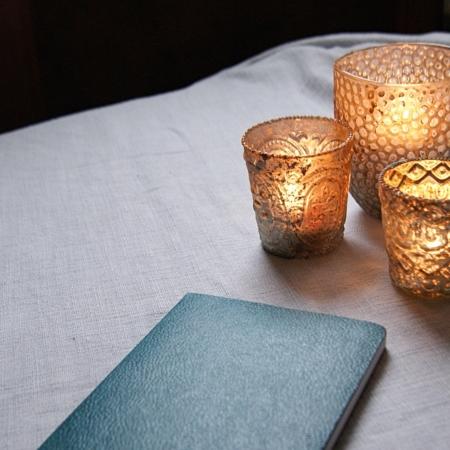 blue-notebook-gold-tealights