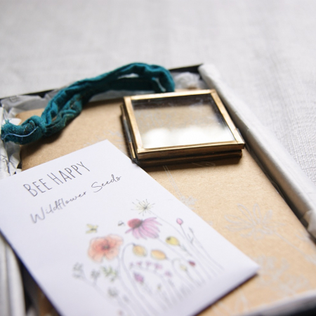letterbox gift set - seeds - frame- flowery notebook - gift wrapped