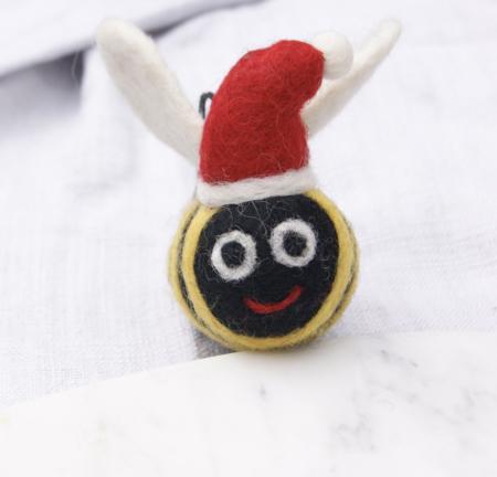 felt bee decoration in Santa hat
