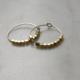 Brass beaded hoop earrings
